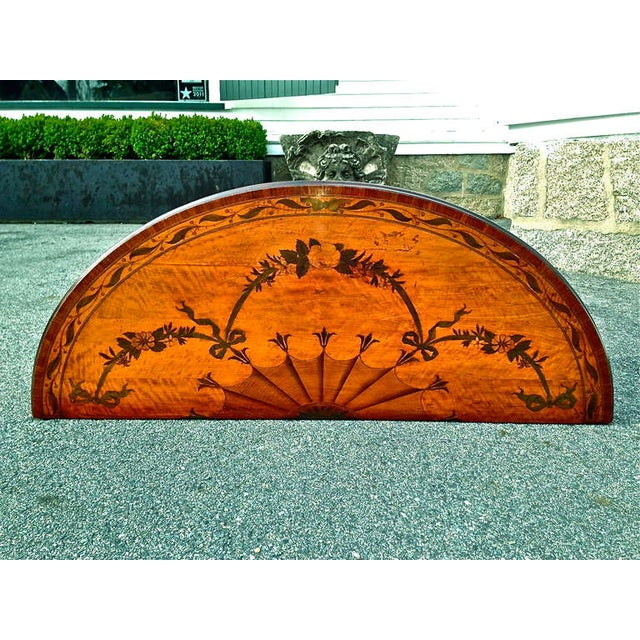 Late 18th Century Rare and Exquisite Adam Period Satinwood and Gilt Demi-Lune Irish Console Table For Sale - Image 5 of 6