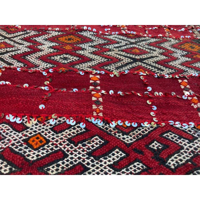 Moroccan tribal wedding rug with sequins North Africa, Handira. Handwoven vintage Moroccan Berber Tribal Handira ethnic...