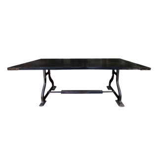 20th Century Industrial Iron & Wood Table For Sale