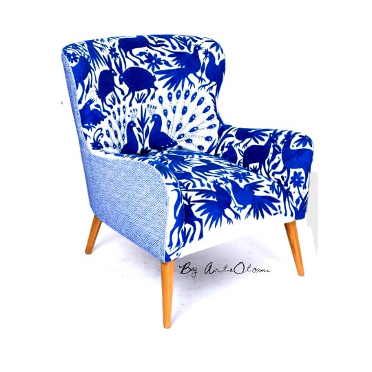 Adirondack 1960s Boho Chic Blue and White Embroidered Lounge Chair For Sale - Image 3 of 11