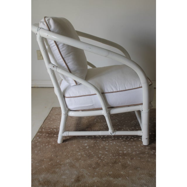 Vintage Mid Century White Bamboo Chairs - a Pair For Sale - Image 4 of 12