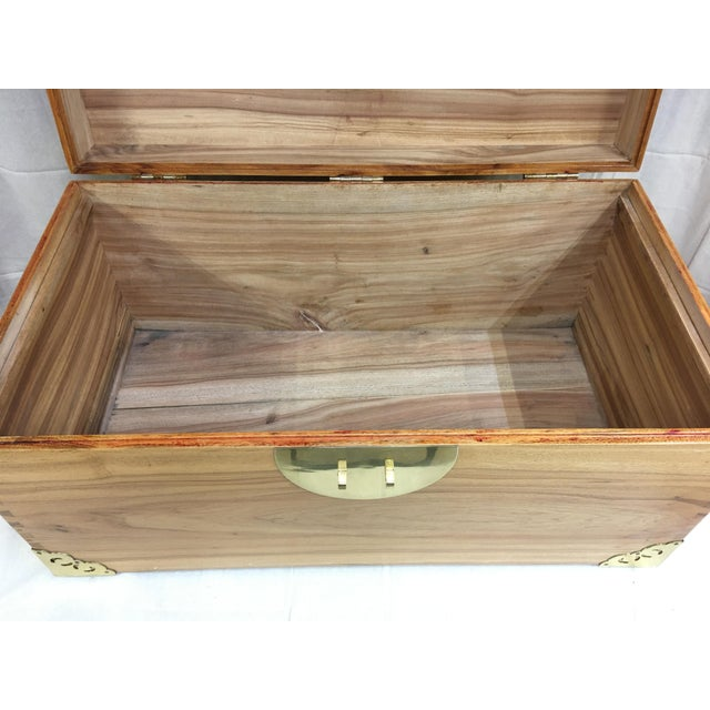 1920s Antique Chinese Brass Trimmed Camphor Wood Chest For Sale - Image 11 of 13