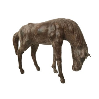 Vintage Leather Statue of a Grazing Horse For Sale