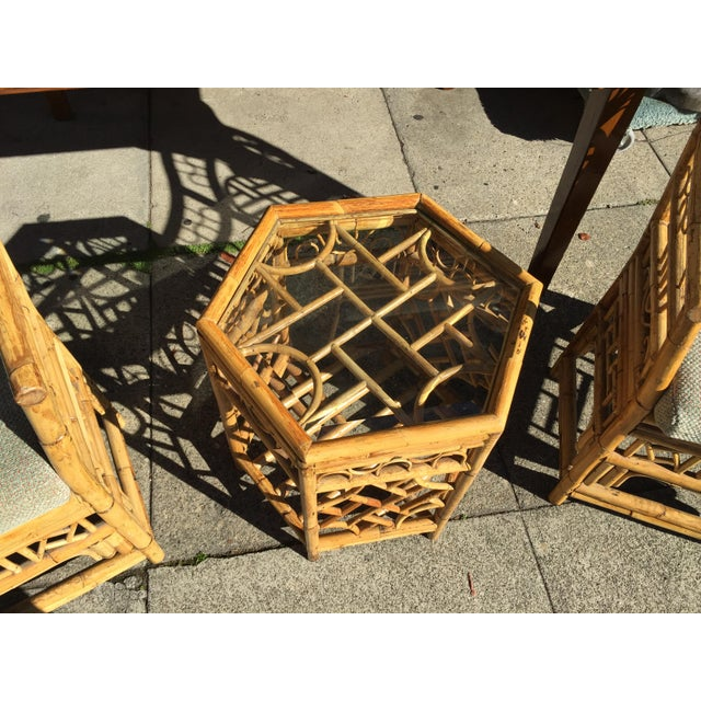 4 Chinese Chippendale Bamboo Chairs and Small Table For Sale - Image 4 of 8