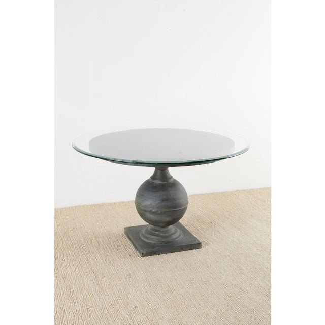 Neoclassical Patinated Metal Pedestal Dining or Centre Table For Sale In San Francisco - Image 6 of 13
