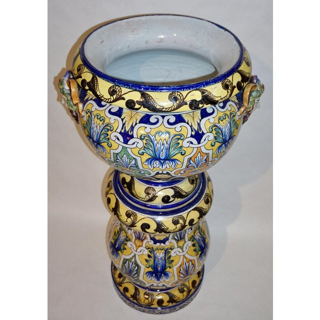 Montagnon 1880s French Blue, Yellow, Green Majolica 2 Pc. Jardinière on Stand For Sale In New York - Image 6 of 13