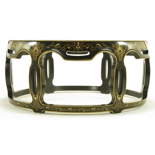 Contemporary Asian Open Drum Coffee Table - Lacquered & Parcel Gilt For Sale - Image 3 of 7