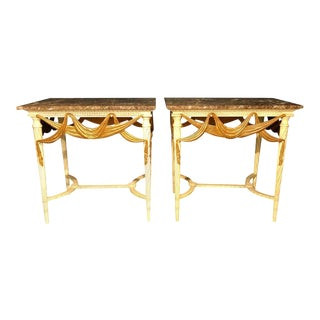 Dorothy Draper Console Sofa or End Tables, Parcel Gilt & Paint Decorated - a Pair For Sale
