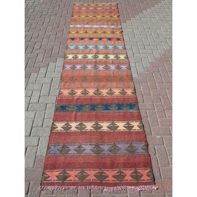 "Mid-Century Modern Vintage Anatolian Handmade Kilim Runner-3'x11'4"" For Sale - Image 3 of 13"