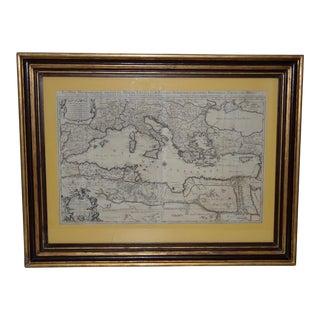 17th Century Map of the Mediterranean Sea W/ Neptune Cartouche C.1692 For Sale