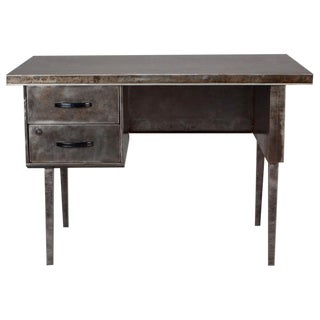 Mid-Century French Industrial Steel 2 Drawer Desk For Sale