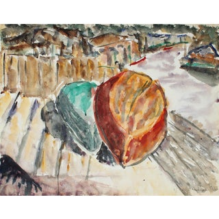Expressionist Boats in Watercolor, Mid 20th Century
