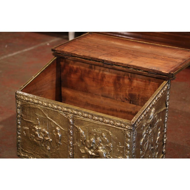 French 19th Century French Repousse Copper and Wood Box With Tavern Scenes For Sale - Image 3 of 8