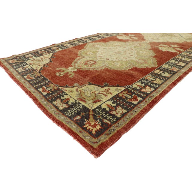 51660 Vintage Turkish Oushak Runner with Traditional Modern Rustic Style, Hallway Runner 03'08 x 11'01. This hand-knotted...