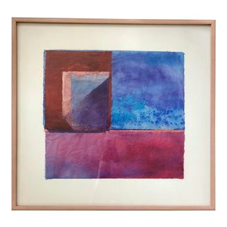Vintage Pink and Blue Mixed Media Abstract by Patricia Natirbov For Sale