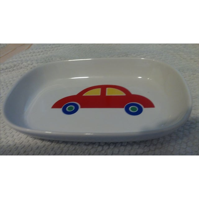 Never used, packed away fabulous 1980's Marimekko tray with red Volkswagen like car. A second whimsical Marimekko tray...