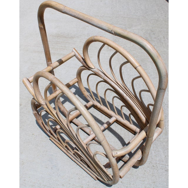 1970s Large Vintage Rattan Basket With Handle For Sale - Image 5 of 10