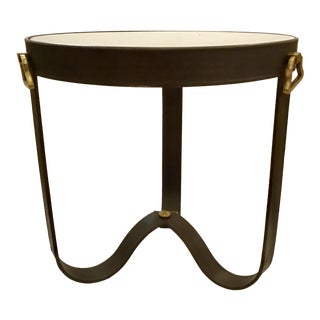 Barry Dixon for Arteriors Modern Brown Leather Stirup End Table For Sale