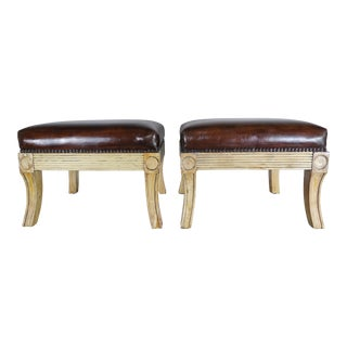Italian Leather Upholstered Benches, Pair
