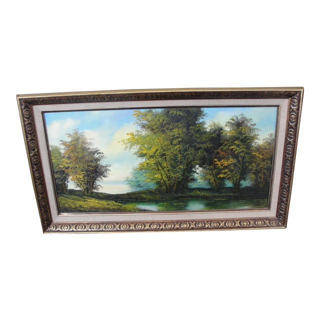 Mid Century Oil on Board Landscape Painting by Paul Chen For Sale