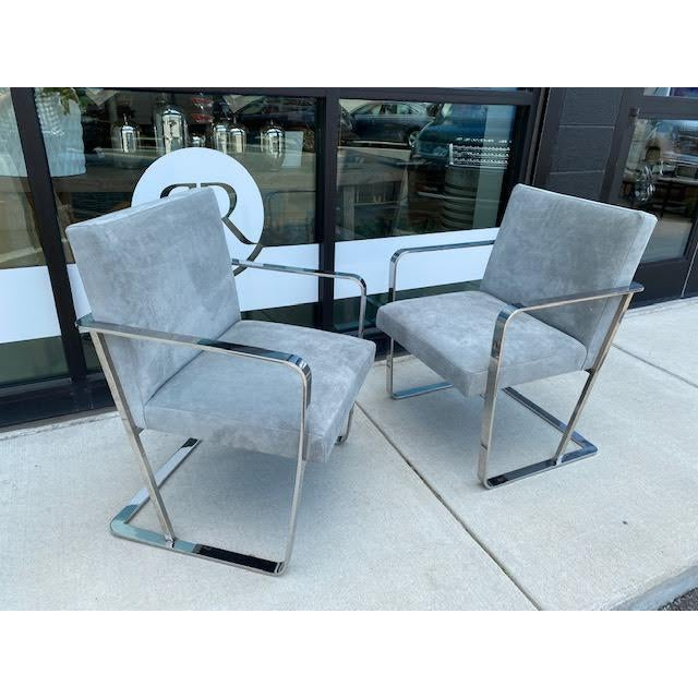 Pair of Vintage Chrome Chairs, Newly Recovered in Hide For Sale - Image 11 of 11