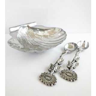 Polished Pewter Set Scallop Shell Serving Bowl & Salad Spoon and Fork, Preview