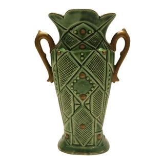 Art Deco Green Ceramic Vase For Sale