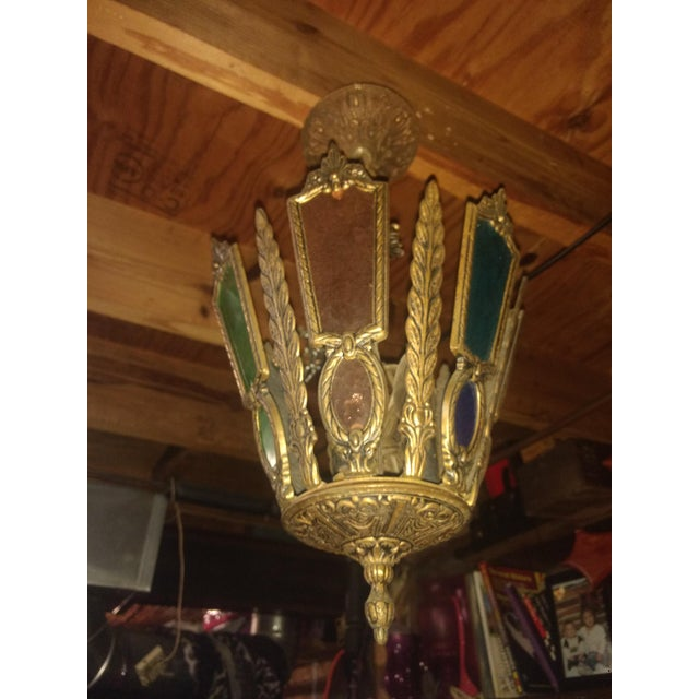 Art Deco Antique Stained Glass Chandelier For Sale - Image 3 of 4