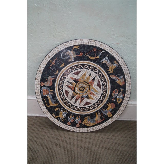 Horoscope Mosaic Stone Tile Pedestal Coffee Table For Sale - Image 9 of 10