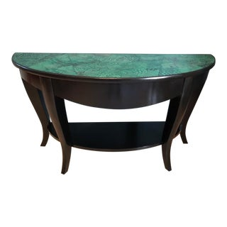 Mid Century Modern Faux Malachite Console or Foyer Table For Sale
