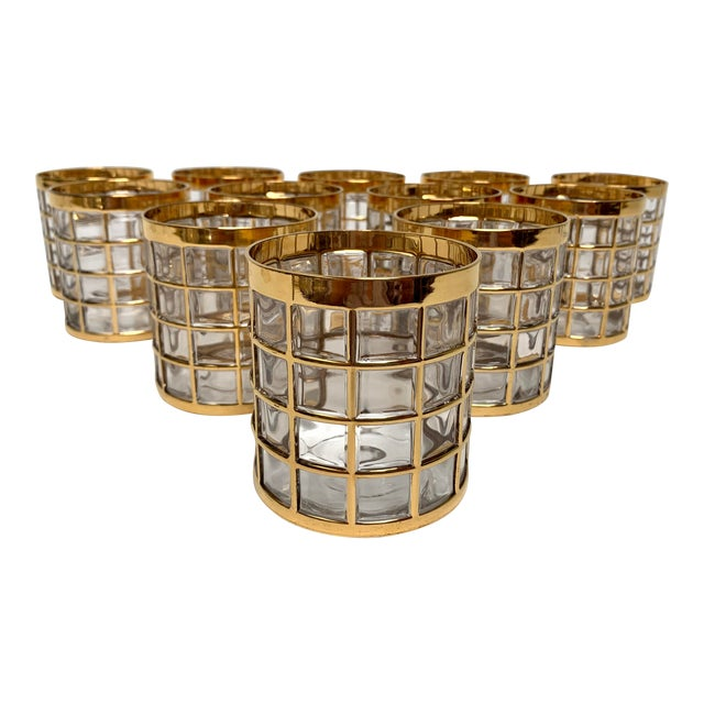 Imperial Glass Toril De Oro Rocks Cocktail Glasses - Set of 12 For Sale