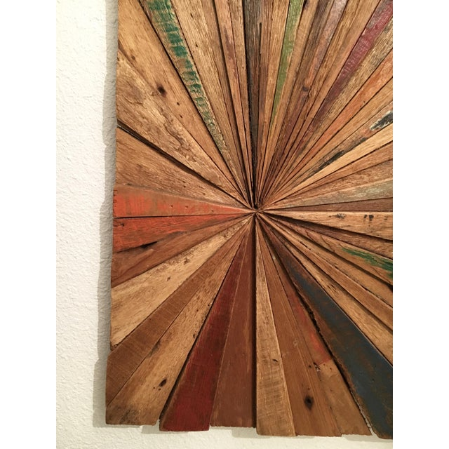 2010s Solid Wood Sunburst Wall Sculpture For Sale - Image 5 of 9