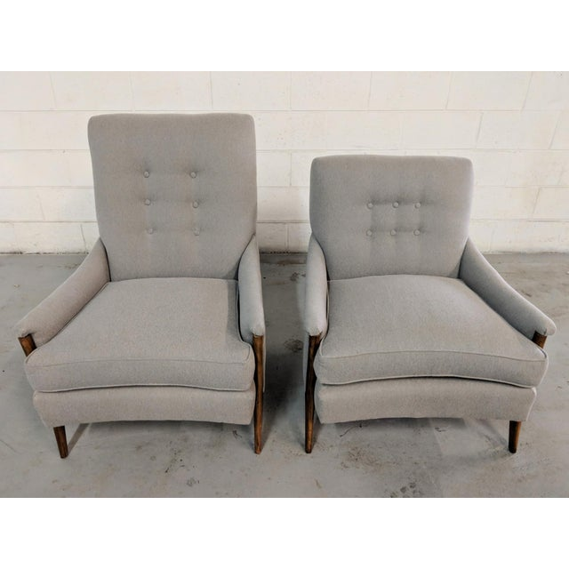 Restored Kroehler Mid-Century Modern Gray Wool Walnut Lounge Chairs - a Pair For Sale - Image 10 of 13