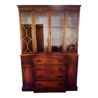 Large Antique Traditional Glass-Fronted China Cabinet For Sale