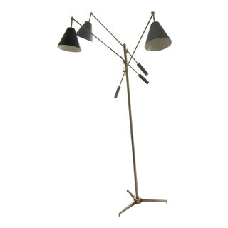 1960s Art Deco Arredoluce Brass and Steel Floor Lamp