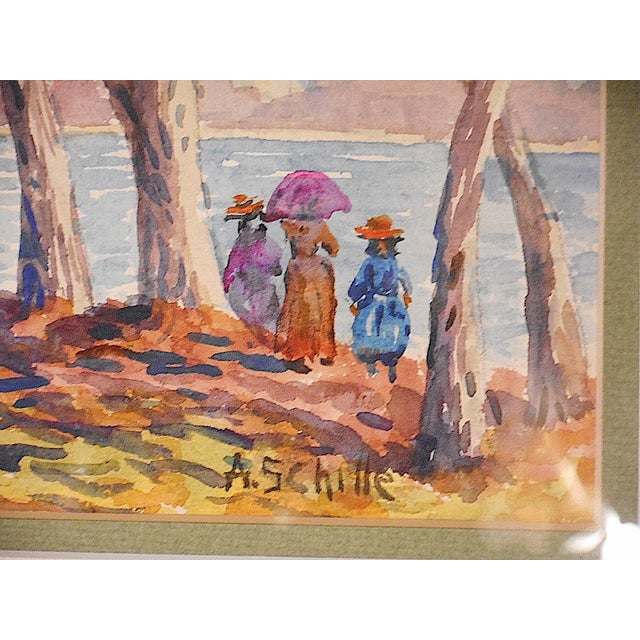 Alice Schille Signed Original Figural Watercolor-Listed American Artist For Sale - Image 4 of 6