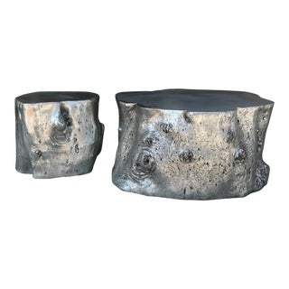 Brutalist Silver Tree Trunk Coffee and Side Table - 2 Piece Set For Sale