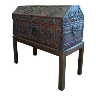 Antique Spanish Trunk on Stand For Sale