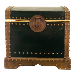 Green Leather and Brass Studded Storage Trunk For Sale