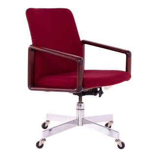 1960s Vintage Dyrlund Rosewood & Fabric Upholstered Office Chair For Sale