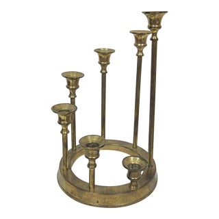 1970s Brass Round Tiered Candlestick Holder For Sale