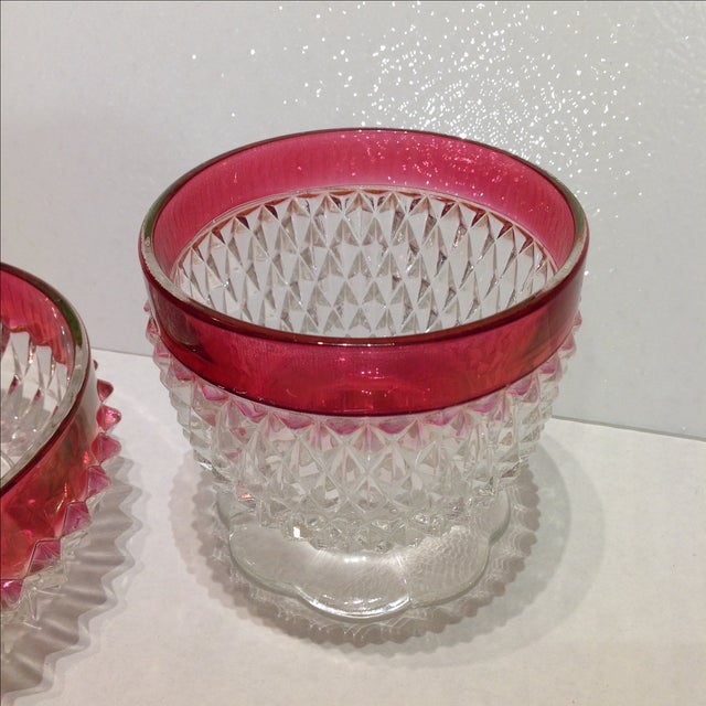 Vintage Ruby Flash Diamond Point Glass Condiment Set - S/3 For Sale In Chicago - Image 6 of 7