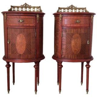 Louis XVI Style Pair of Marquetry Nightstands with Bronze Crest For Sale