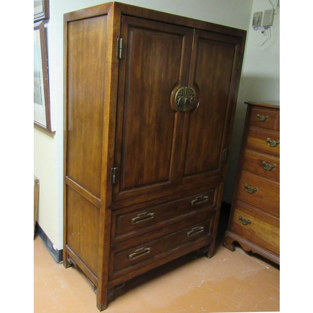 Campaign Century Furniture Asian Campaign Style Armoire Chest With Brass Accents For Sale - Image 3 of 11