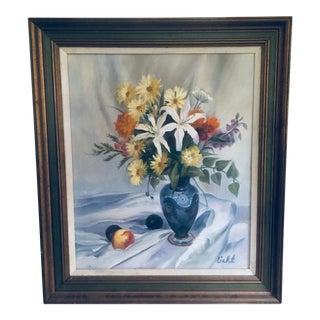 Vintage Mid-Century Signed Still Life Painting Signed Framed For Sale