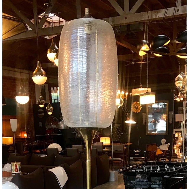 Contemporary Italian Brass and Art Glass Floor Lamp, 1960s For Sale - Image 3 of 13