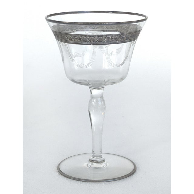 Etching 1930s-1940's Art Deco Stemware Glasses- Set of 28 For Sale - Image 7 of 10