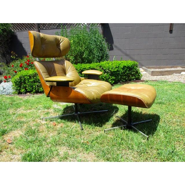 Frank Doerner Mid-Century Modern Chair & Ottoman Set Selig Plycraft Style - Image 2 of 11