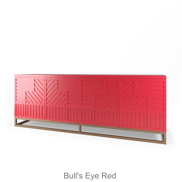 Not Yet Made - Made To Order Stria Credenza - Brushed Brass Base, Bull's Eye Red For Sale - Image 5 of 5