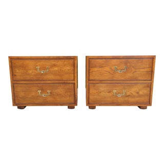 Campaign Henredon Artefacts 2 Drawer Style Nightstands - a Pair For Sale